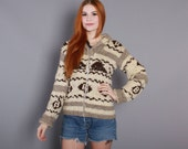 60s Chunky Wool COWICHAN SWEATER / 1960s WHALES Sweater Coat xs s