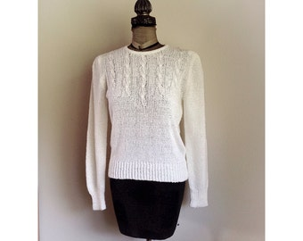 Vintage 1980s Joyce Sweater with Faux Pearl Accents  Medium