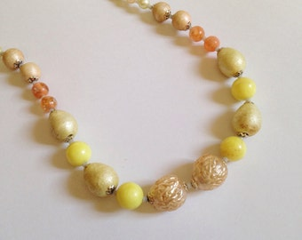 Vintage Autumn Shades Plastic Necklace Yellow Orange Faux Pearls