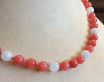 Rhodochrosite and Rose Quartz beaded necklace magnetic clasp