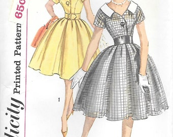 Simplicity 3395 UNCUT 1950s Mad Men Dress Vintage Sewing Pattern Bust 31 or 34