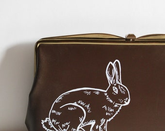 Brown Purse / Brown Clutch / Vintage Purse / Painted Purse / Bunny / Rabbit / Painted Purse / Easter Present / Easter / Vintage Rabbit