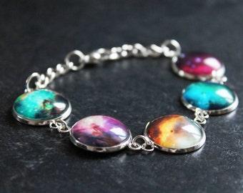 Rainbow Galaxy Nebula Bracelet - Solar system galaxies - Glass Dome Statement bracelet