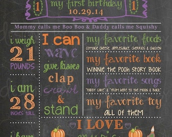 1st, 2nd, 3rd, Birthday Chalkboard Birthday Poster Sign Memory, pumpkin, purple, orange, green, halloween, fall, *custom digital printable*