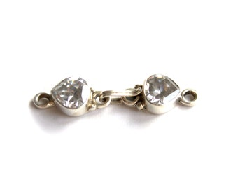 Sterling Silver 925 White Topaz Pear Hook Clasp Set Faceted Stone Teardrop