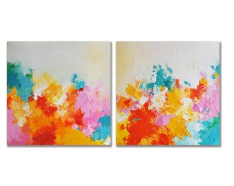 Original Abstract Painting Bright Colors Diptych Set of Two Textured Abstract Painting Aqua Yellow Orange UNSTRETCHED 20x40""