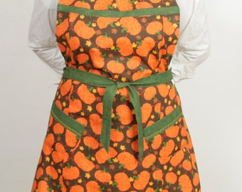 Plus size- Halloween Fall Apron-  Pumpkins and green