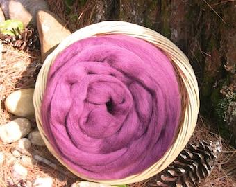 Corriedale Raspberry, Wool Roving, 4 ounces