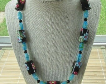 Floral Motif Beaded Statement Necklace - Polymer Clay Millefiori Jewelry for Women