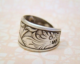 Game Of Thrones, Khaleesi, Double Dragon Ring, Antiqued Silver Ring, Thumb Ring, Adjustable