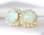 Chrysolite Opal Swarovski Crystals Framed with Clear Halo Crystals on Gold Post Earrings, Halo Studs