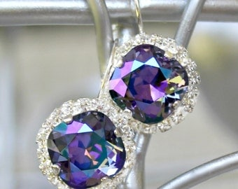 Tanzanite Glacier Blue Swarovski Crystals with Halo Crystals on Silver Leverback Earrings