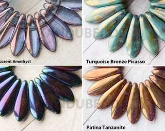 2 Hole Multicolor Czech Glass Dagger 2 hole Beads Sticks Points Spears Blue Purple Gold Bronze Turquoise AB Matte Luster 5mmx16mm