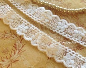 2 yd French Cotton Tulle Embroidered Bridal Lace Trim Soft Ivory Scalloped Edge 7/8""