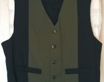 Vintage 90s Vest by City Streets, Olive and Black Panels, 2 Tone
