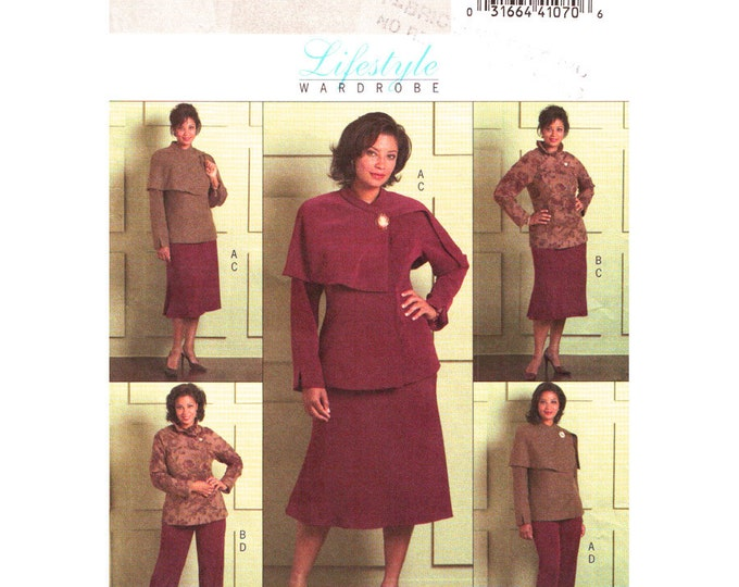 Jacket Skirt Pants Pattern Butterick 4878 Unlined Suit Jacket Shawl Collar Plus Size 18 to 24