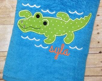 Monogrammed Beach Towel - Alligator Applique Bath Towel - Personalized