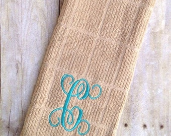 Monogrammed Dish Towel, Dish Cloth - Personalized, Single Initial