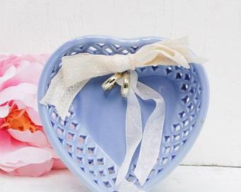 Heart Ring Bearer Dish Blue Ring Bearer Container Wedding Ring Holder Heart Ring Dish Blue Ceramic Basket Country Wedding Something Blue