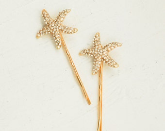 Gold Rhinestone STARFISH Hair Accessories Bobby Pin Set Beach Wedding  Summer Sea Star  Bridal (2)