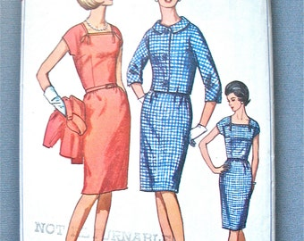 Vintage late 50s or early 60s Women's Dress and Jacket Pattern by Simplicity 6328   Bust 40 inches