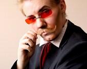 RED Square Eyeglasses Steampunk Sunglasses