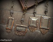 SALE:  ORIGINAL Soldered Filigree Glass Bevel© Long Necklace *** Romantic *** Lacy Filigree *** Vintage Rhinestone