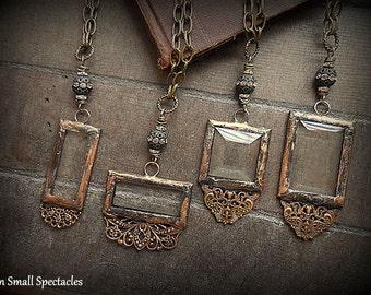 ORIGINAL Soldered Filigree Glass Bevel© Long Necklace *** Romantic *** Lacy Filigree *** Vintage Rhinestone