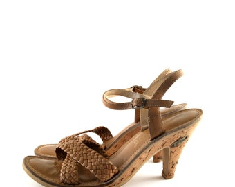 Vintage Strappy Sandals - 70s Cork and Leather Braided Heels Coachella