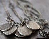 Modern unique 'perfectly imperfect' fine silver disc necklace