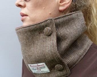 Harris Tweed Neckwarmer Scarf - Brown/Steel Grey