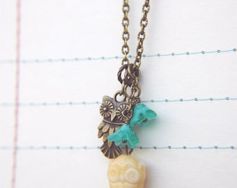 Boho Owl Necklace Beaded Turquoise Flowers  - Owl Love.