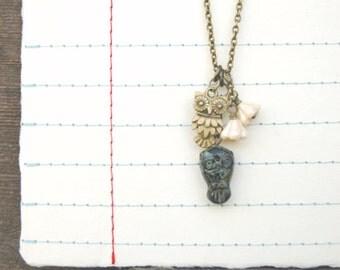 Boho Owl Necklace Black and Gold Pendant Cream Flowers  - Owl Love No. 3