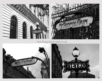 Paris Photography, Black and White Photography, Paris Metro Sign Architecture, Metro Sign Collection, Paris Black White Metro Sign Print Set