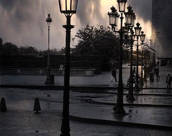 CLEARANCE SALE Paris Photography, Louvre Lanterns Lights, Paris Black White Photography, Paris Nights,  Surreal Paris Street Lanterns Lights