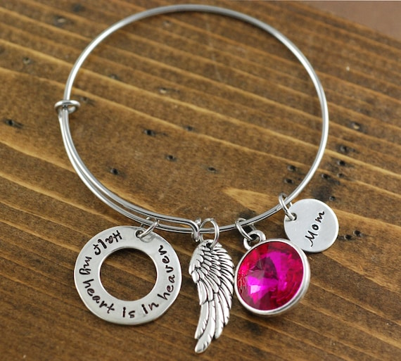 Memorial Bangle Bracelet, Half My Heart is In Heaven, Bereavement Jewelry, Hand Stamped Bracelet, Charm Bracelet