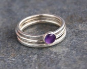 Sterling Silver 5mm Amethyst Stacking Rings- Made to Order