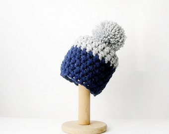 Pom Pom Beanie Crochet Hat Color Block Pompom Grey and  Blue Chunky Women's Beanie