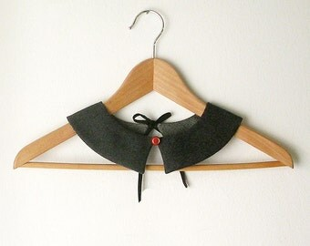 Dark Grey PeterPan Collar   Double Face Detachable Collar Gray Collar