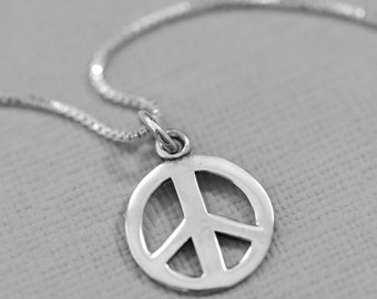 Peace Sign Necklace, Sterling Silver Peace Necklace, Peace Necklace