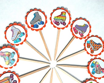 80's Skates - Cupcake Toppers