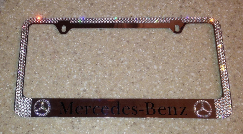 Swarovski crystal license plate frame mercedes benz by for Mercedes benz license plate frame rhinestones