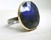 Oversized Labradorite ring in sterling silver with 14Kt gold setting, custom size cocktail ring