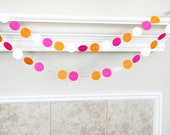 Hot Pink Orange White Paper Garland, Pink Flamingo Birthday Party Decoration Orange Pink Wedding Shower Garland, Orange Pink Summer Wedding