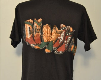 Vintage Cowboy Tee Boots Western Southwestern Native American Texas Arizona Black 80s 90s LARGE