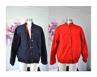 Reversible Jacket Vintage Ladies by Abvien Coat Red and Blue Bright Red Ladies LARGE