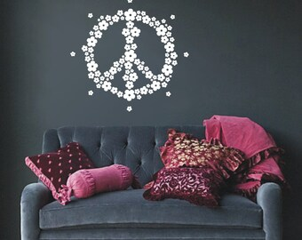 Flower Peace Hippie Symbol Decal 60's Sign Wall Vinyl Adhesive Sticker Psychedelic Free Love Revolution