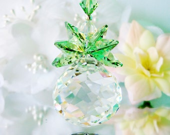 Crystal Suncatcher Swarovski Sun Catcher Hanging Crystals Green Feng Shui Decor