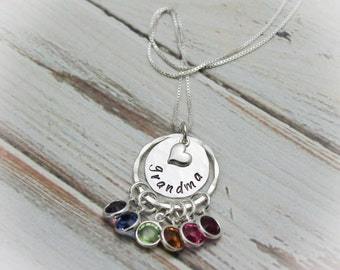 Grandmother Birthstone Necklace, Mom Mom Necklace, Birthstone Necklace, Grandchildren Necklace, Hand Stamped Personalized, Sterling Silver