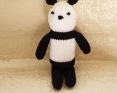 Panda Bear Stuffed Animal Toy/ Black And White/ Knitted Amigurumi Plush Doll/ Handmade Toys/ Stuffed Teddy Bears/ Hand Knit/ Gift For Kids